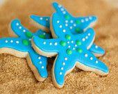 Starfish Beach Theme Wedding Cookie Favors Aqua // 12 // Star Fish Party Birthday Wedding Shower Boy Girl