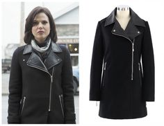 """Alternative Look: We found this almost identical coat for the Zara one worn by Regina in episode 2x16""""The Miller's Daughter"""". Faux Leather Collar Felt Wool Coat in Black ($79.12, was 98.90)"""