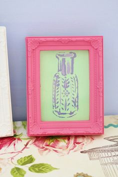 Oud Perfume Bottle Canvas Painting Mint Purple