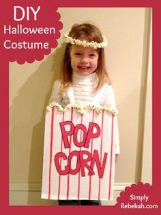 This popcorn costume is the most adorable Halloween costume I've ever made. It was really simple to pull together and it was super cheap!