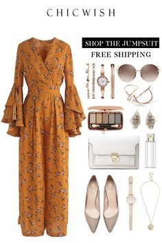 Azalea Blossom Jumpsuit with Tiered Bell Sleeves/rompers Retro Outfits, Vintage Outfits, Mode Outfits, Classy Outfits, Stylish Outfits, Dress Outfits, Classy Casual, Classy Dress, Event Dresses
