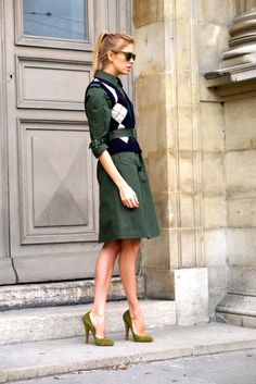 neoretrostreetstyle: Elena Perminova Style! Jacquard x Green khaki! nice!
