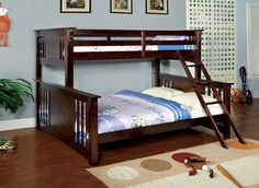 Twin XL/Queen Bunk Bed Spring Creek Collection Cm-Bk604The straight clean lines and dark walnut and oak finish create a modern Mission style that is perfect for a child's bedroom. Four styles are available in dark walnut: twin XL over queen for those with bigger space, twin overtwin, twin over fulland full over full. A fi fth style is also available in oak fi nish (twin/full). All styles feature an easyaccess ladder and an optional fi ve-drawer chest to complete the…