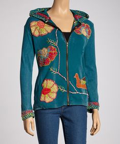 Look at this Rising International Teal Floral Zip-Up Hoodie on #zulily today!