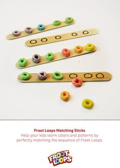 Learning patterns was never more fun than with Froot Loops Matching sticks Busy Bag. All you need are popsicle sticks, glue, and Froot Loops. Then simply glue different Froot Loops onto a few popsicle. Preschool Letters, Preschool Lessons, Kindergarten Math, Toddler Activities, Learning Activities, Preschool Activities, Kids Learning, Teaching Patterns, Math Patterns