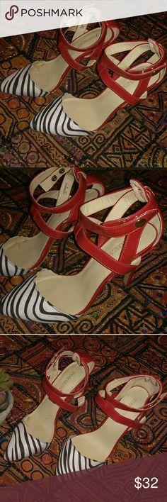 Sz 8 Shoe Dazzle zebra strappy heels Good condition!  Back of heel is in great condition  Size 8 Shoe Dazzle Shoes Heels