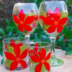 Poinsettia Stemware. Christmas dinner perfection. Wine glasses and other stemware available.