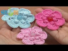▶ Crochet Popcorn Stitch 6-Petal Flower Tutorial 67 Easy Flower to Crochet - YouTube (thread)