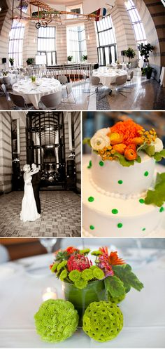 Offbeat wedding with a bright green and orange wedding color theme