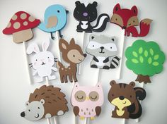 30 (YOUR CHOICE) Woodland Cupcake Toppers, Cupcake Toppers, Skunk Toppers, Beaver Toppers, Raccoon, Fox , Squirrel, Hedgehog
