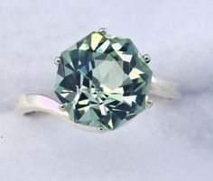 Green Amethyst Alternative Color Engagement Ring Rose Petal Custom Cut. $225.00, via Etsy.