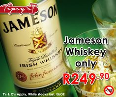 Let the Jameson sink in, #ItsTheWeekendBaby. Get a 750ml of Jameson whiskey from #TipsysLiquorBoutique for only R249.90 each. Prices valid until 1 August 2015 or while stocks last, T's & C's Apply, E & OE. Not for Sale to Persons Under the Age of 18. Drink Responsibly. #JamesonSAhttps://www.facebook.com/TipsysLiquorBoutique/photos/pb.792063187523700.-2207520000.1437231709./928633237200027/?type=3