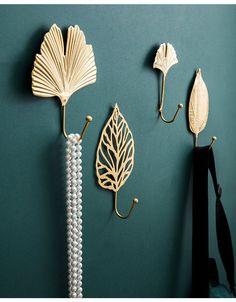 Gold Leaf Wall Hook Set of 6 | Etsy Bathroom Towel Hooks, Hair Tie Bracelet, Cupboard Handles, Hanging Clothes, Art Deco, Brass Hook, Decorative Hooks, Smart Tiles, Gold Walls