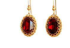 Valentines Red Ruby Swarovski cabochon gold #jewelry #earrings #dangle @EtsyMktgTool http://etsy.me/2i7IYSZ