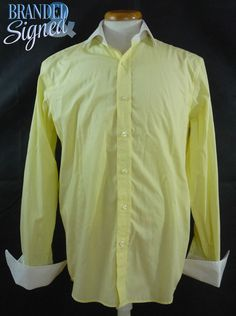 Saville Row Co Shirt Yellow White French Cuffs 16 41 collar 35 in Sleeves French Cuff, Office Wear, Dress To Impress, The Row, Cuffs, Shirt Dress, Yellow, Sleeves, Mens Tops