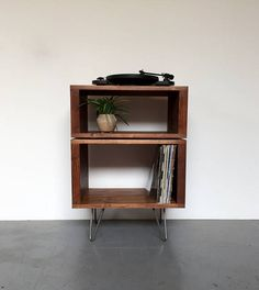 Vinyl Record Storage Stand Stacked Sideboard Console on Hairpin Legs