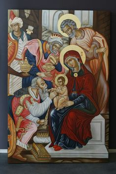 Christ and the three wise men at the Nativity Byzantine Icons, Byzantine Art, Religious Icons, Religious Art, Church Icon, Christian Artwork, Religion Catolica, Religious Paintings, Biblical Art