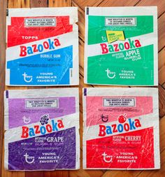 4 Topps Bazooka Joe Bubble Gum Trading Card Wrappers All Flavors Fleer Bazooka Bubble Gum, Vintage Candy, Free News, Childhood Memories, Nostalgia, Bubbles, Candies, Fun, Treats