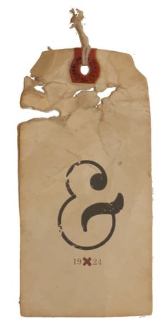 Weathered and lovely ampersand tag. Ampersand Tattoo, Beautiful Lettering, Swing Tags, Design Graphique, Printing Labels, Vintage Ephemera, Letters And Numbers, Cool Items, Lettering Design