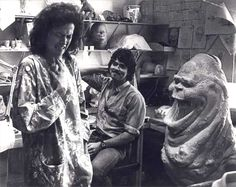 Sigourney Weaver reacting to special effects artist Steve Johnsons model of slimer for ghost busters 1982