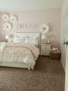 Blush pink and white big girl bedroom for my sweet little girly girl. PB Kids Paper flowers, butterflies, and mirrored wall letters helped to create a whimsical bedroom for my little girl. Monique Lhuillier bedding and wall decor from Pottery Barn Kids. Pink Bedroom Walls, Blush Pink Bedroom, Girls Bedroom Furniture, Bedroom Decor For Teen Girls, Pink Bedrooms, Teenage Girl Bedrooms, Teen Bedroom, Girls Flower Bedroom, Butterfly Bedroom