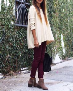 Sweater, red skinnies, brown boots