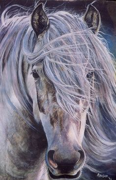 watercoour horse by artist Airasana Busato. The wind blown forelock reminds me of my ponies. Miss them
