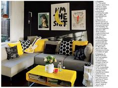 grey and yellow living room decorations | Decor Inspiration: Yellow Accent