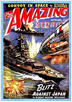 Blitz Against Japan A4 Glossy Vintage Sci-Fi Comic//Magazine Cover Art Print Amazing Stories