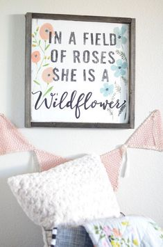 Large Wildflower wood sign perfect for a nursery! ♥