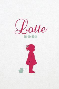 Geboortekaartje meisje - Lotte - meisje met eendje - Pimpelpluis - https://www.facebook.com/pages/Pimpelpluis/188675421305550?ref=hl (# simpel - eenvoudig - retro - naam - lief - dieren - eend - speelgoed - silhouet - kindje - origineel)