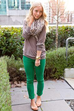 green jeans, leopard scarf <3