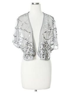 Lace and Sequin Shrug (Colors: Black, Gray Grey)
