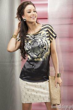 #Tunika o luźnym fasonie z motywem tygrysa