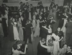 """Camelot Club Dance, 1939 - The """"Camelot Dance"""" held in the Masonic Temple on Centre Street took place during winter/spring Photo source (R. Henry Reed) indicated that most of the young people. Masonic Temple, People Dancing, Winter Springs, Young People, The Unit, Dance, History, Concert, Centre"""