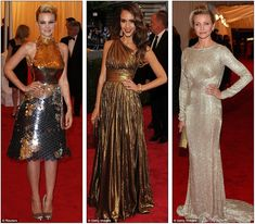 Carey Mulligan in Prada, Jessica Alba in Michael Kors and Cameron Diaz in Stella McCartney at the 2012 Met Ball