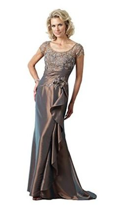 Montage 112922 Mother of the Bride Short Sleeve Dress, Bronze, 16 - Scoop Neck Beaded Bodice with Short Sleeves, Long Mermaid Skirt