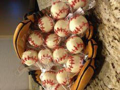 Baseball cake pops for a baseball themed party/ baby shower!