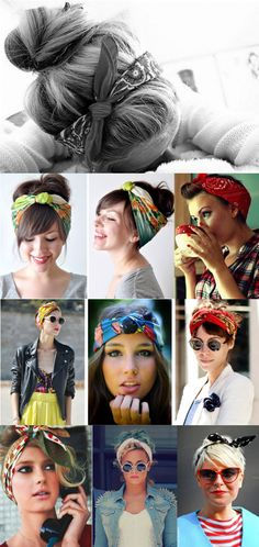 Love these vintage head scarves and bandanas