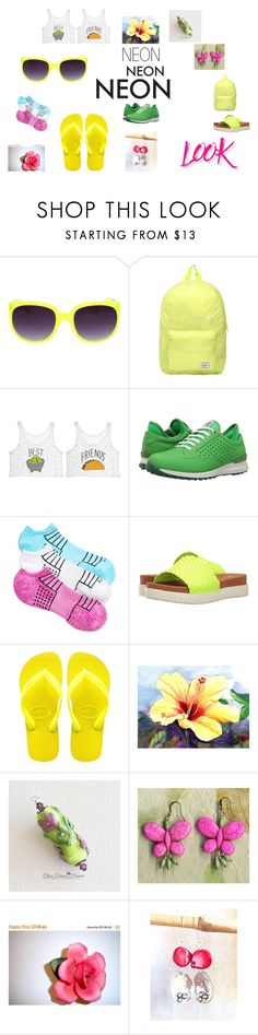 Look, Neon Everywhere by rocky-springs-vintage on Polyvore featuring beauty, NYX, Herschel, Hue, ECCO, Bernie Mev and Havaianas
