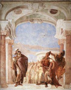 Giovanni Battista Tiepolo - Minerva Restraning Achilles from Killing Agamemnon (detail). Tags: minerva, pallas athena, pallas athene, achilles, achilleus, agamemnon, trojan war, iliad,