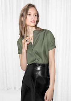 Other Stories image 2 of Oversized Buttoned Top  in Khaki Green