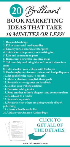 Book marketing doesn't need to take over your day - it can actually be done in just a few minutes a day! Here are 20 ideas that will get you started. Book marketing tips, book marketing strategies, book publishing tips, book publishing ideas, author tips, how to market a book, social media strategies, social media tips, time saving marketing ideas