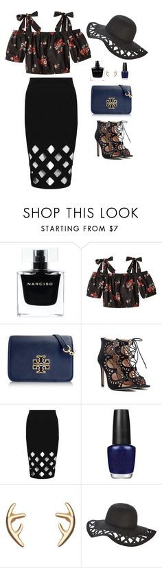 """""""Untitled #550"""" by hayleyl22 ❤ liked on Polyvore featuring Narciso Rodriguez, Rebecca Taylor, Tory Burch and OPI"""