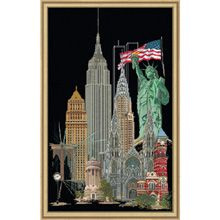 The Big Apple. Counted cross-stitch kit on 18 count black aida fabric - Herrschners.com