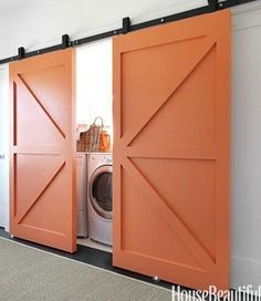 Interior Barn Doors | product design  | product design doors barn doors - could use refurbished door from remodel in utility room to hide hot water heater and still have access