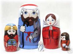 """Adorable Authentic Russian 5 Piece Christmas Nativity Nesting Doll Set.  Russian Matryoshka Hand painted dolls made in St. Petersburg, Russia this Nativity Set has bold bright colors  Included in the set are Joseph, 4"""" tall, Mary, a wiseman, a shepherd, & Baby Jesus.  Nesting Doll collectors will love this matryoshka as they re-create the nativity for themselves all during the Christmas season! They will really enjoy finding the little baby Jesus as the smallest piece in the set."""