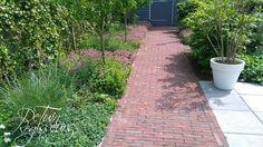 Pad van nieuw gebakken klinkers (hergebruik) naar schuur.  Tuinontwerp: De Tuinregisseurs Pad, Sidewalk, Side Walkway, Walkway, Walkways, Pavement