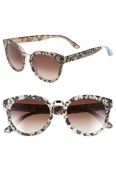 TOMS 'Yvette' 52mm Sunglasses-Vintage-inspired sunglasses with signature TOMS stripes on the temples feature a throwback floral pattern and polished metal bridge.