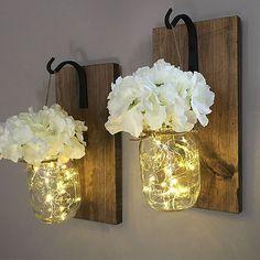 Rustic Hanging Mason Jar Sconces with LED Lighting | HOMEBNC SHOP